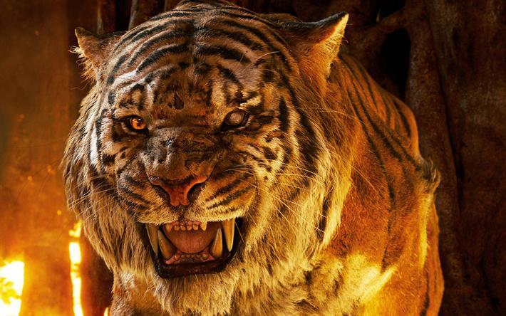 Download Wallpapers Tiger 4k Predators Fire The Jungle Book Besthqwallpapers Com El Libro De La Selva Tigre Rugiendo Selva