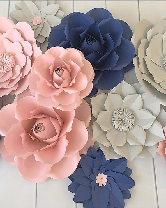 Decoración de la pared de las flores de papel, flores de papel para la habitación de las niñas, guardería floral, flores de papel rubor, decoración del vivero, flores de papel marino