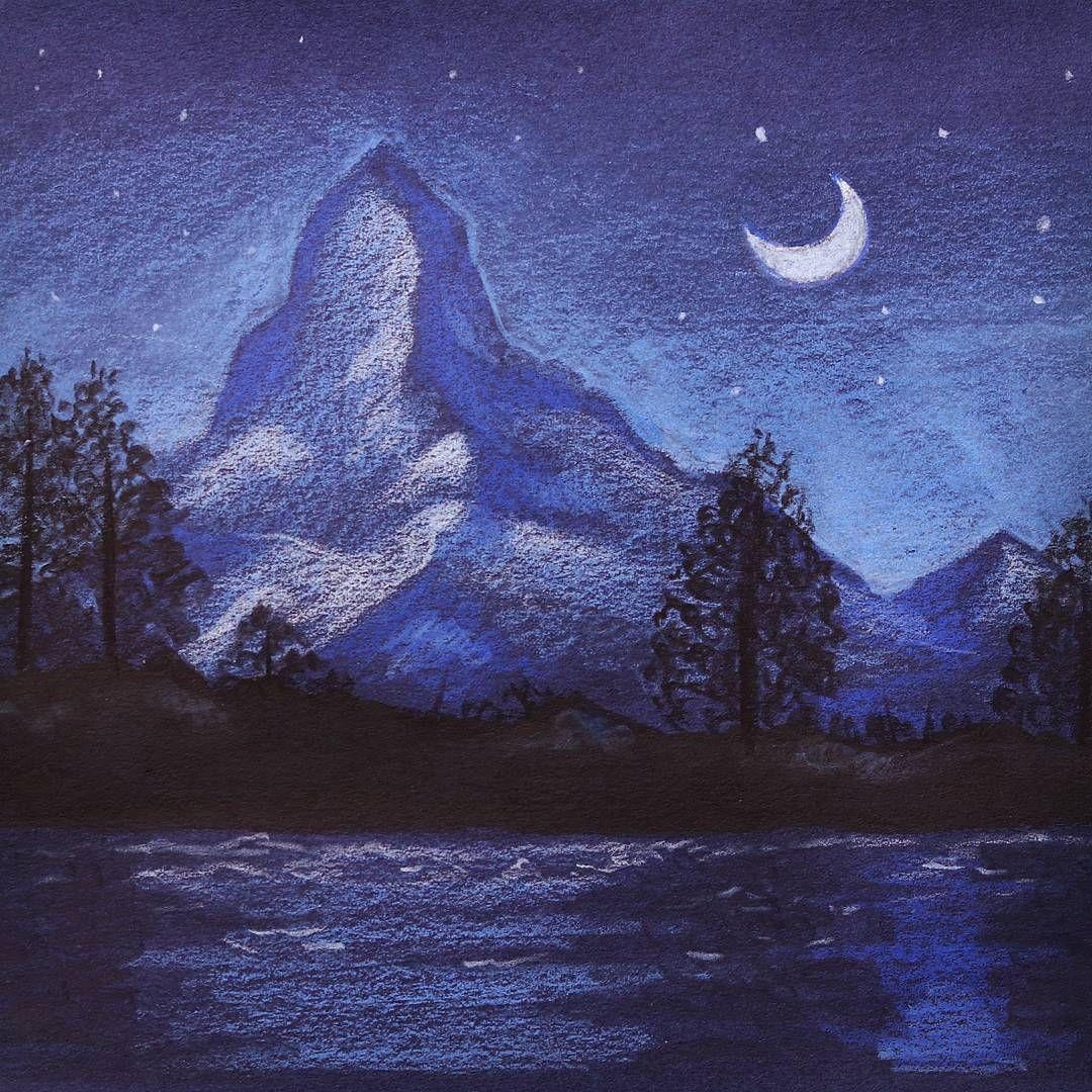 تعليم الرسم كيف ترسم منظر طبيعي ليلي بسيط بالوان الخشب المائية رسم جبال و شجر و بحر وهلال رسم منظر لي Diy Canvas Art Diy Art Painting Art Drawings Simple