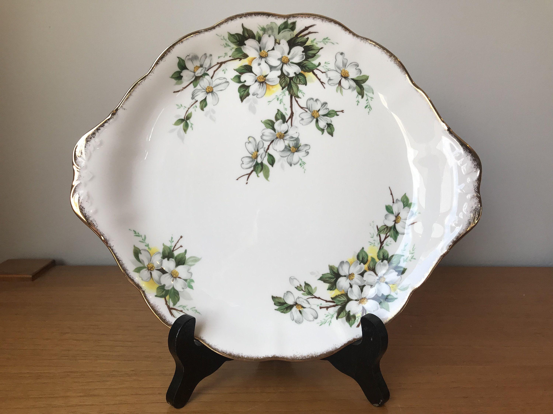 "Royal Albert ""White Dogwood"" Cake Plate, Vintage Serving"