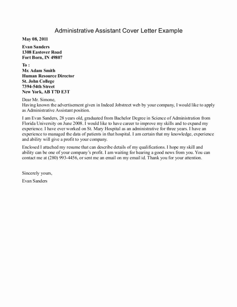 Cover Letter For Executive Assistant Inspirational Best Entry Lev Administrative Assistant Cover Letter Cover Letter For Resume Administrative Assistant Resume