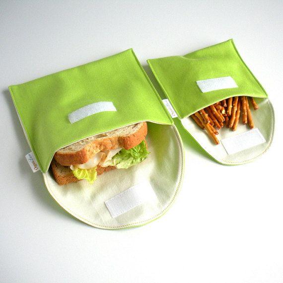 Ähnliche Artikel wie Wiederverwendbare Eco-Sandwich und Snack Bag Set 2 - Bio-Baumwolle - Kalk---zurück zur Schule auf Etsy