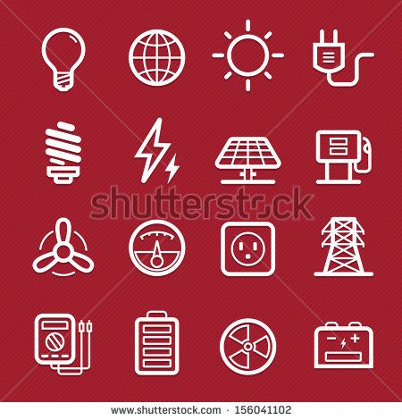 Power Symbol Line Icon On Red Background Vector Illustration Stock