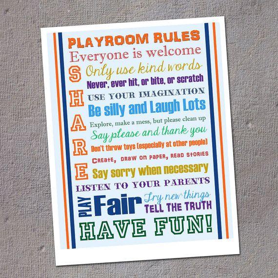 Playroom Rules  Home Decor  Playroom / Kid's by LilMonkeysDesigns, $10.00