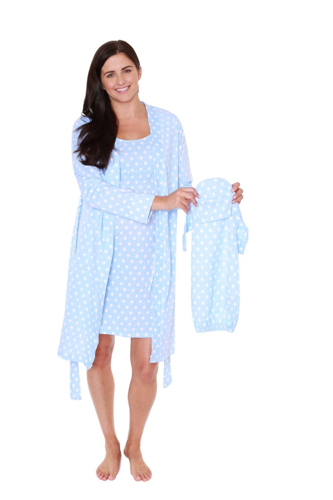 Nicole Robe Nightgown Baby Set Nursing Nightgown Night Gown Nursing Robe