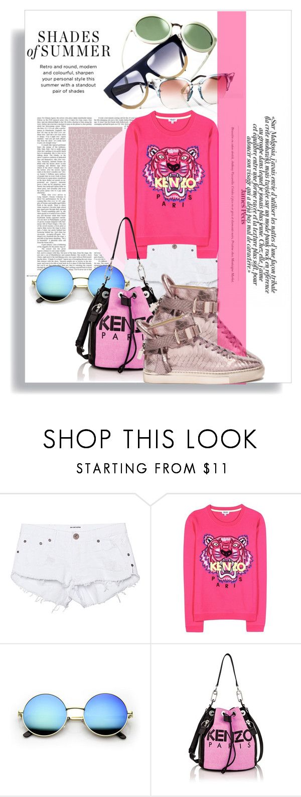 """Kenzo"" by thestrawberryfields ❤ liked on Polyvore featuring One Teaspoon, Kenzo, kenzo, sunglasses and hightops"