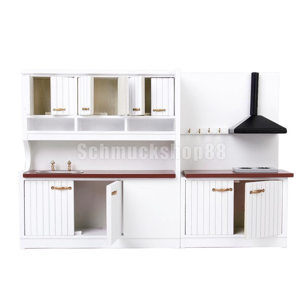 1:12 Puppenhaus Holz Möbel Küche Mininature Spülenschrank + Herd ...