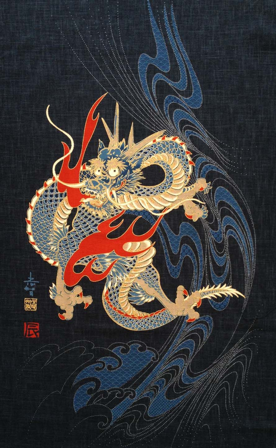 Japanese fabrics japanese print fabric traditional for Japanese dragon painting