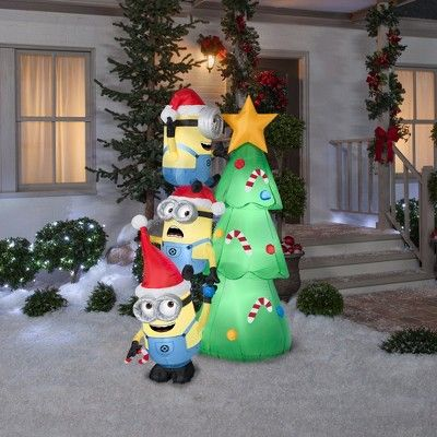 Universal Holiday Inflatable Decoration Minions Decorating Tree,  Multi-Colored - Universal Holiday Inflatable Decoration Minions Decorating Tree