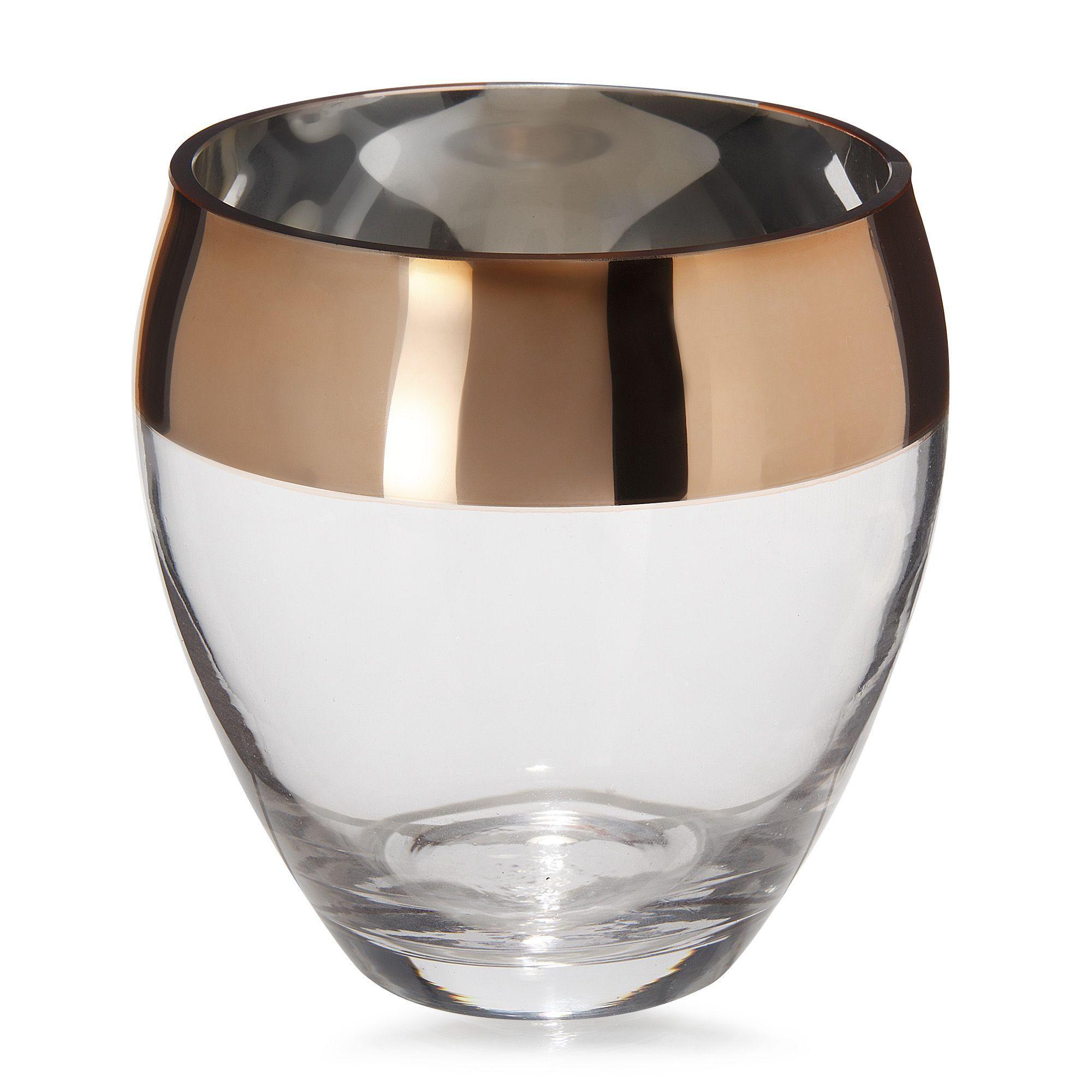 lena vase en verre transparent et cuivr h13 5cm cuivre d coration d co maison alin a. Black Bedroom Furniture Sets. Home Design Ideas