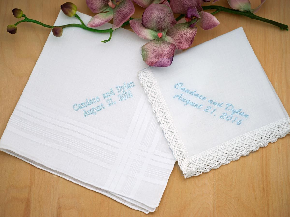 Personalized Bride Groom Hankie Bridal Set Font L