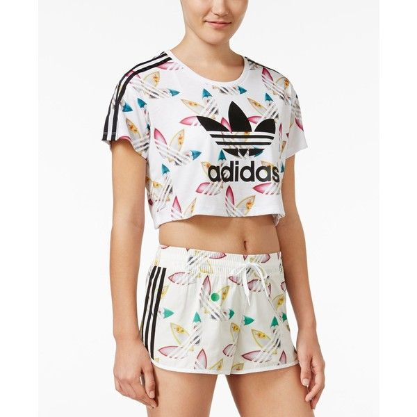 91d65a9bc94 adidas Originals Surf-Print Crop Top ($40) ❤ liked on Polyvore featuring  tops, white, colorful crop tops, colorful tops, print top, white top and  multi ...