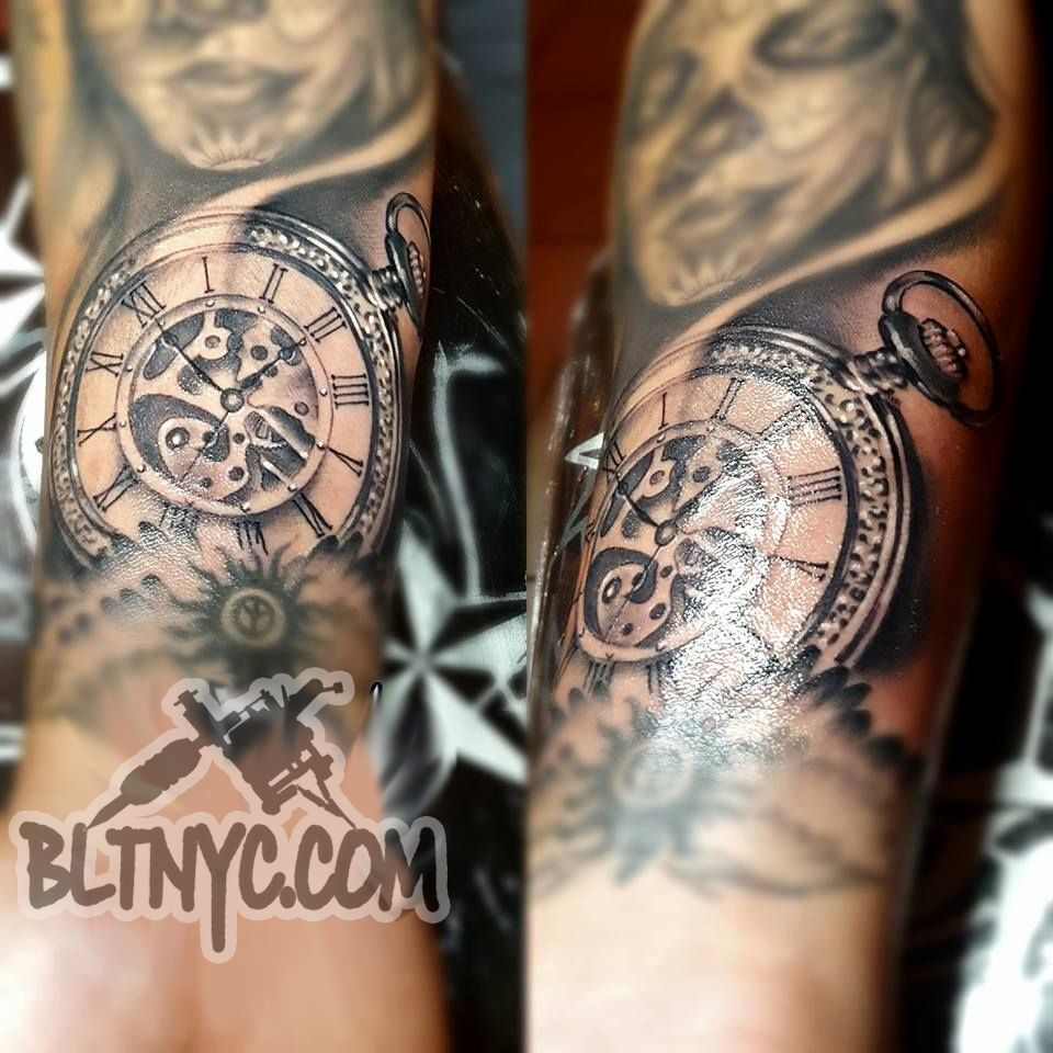 Steampunk Pocketwatch And Gears Tattoo By Carlos At Bltnyc Tattoo