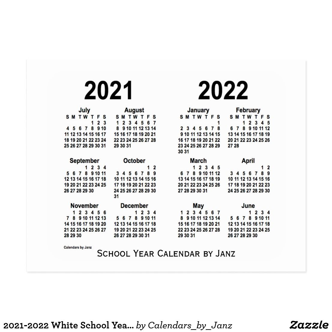 2021 2022 White School Year Calendar by Janz Postcard | Zazzle.