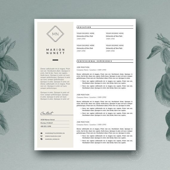 Resume Template  Minimal Resume  Cover Letter For Ms Word