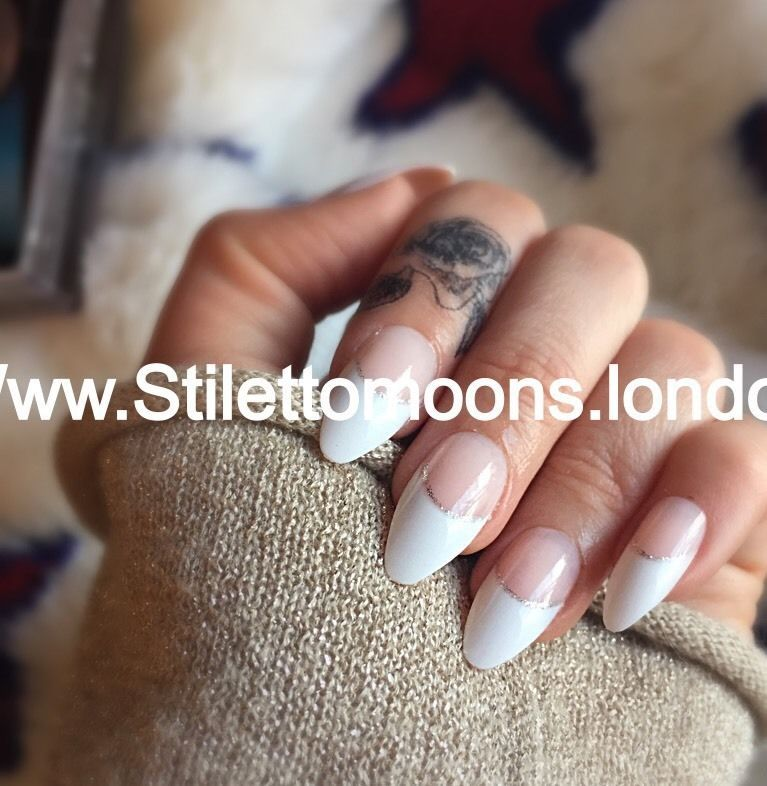 Stiletto Moons Almond Coffin Claw False Nails French Manicure BNIB ...