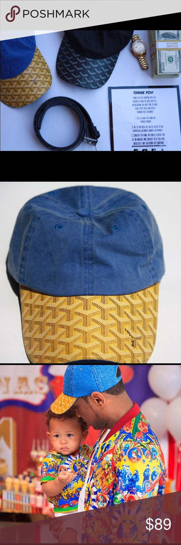 3aa2ff8d835 Goyard cap (Blue Yellow) You re looking at a human hand made very ...