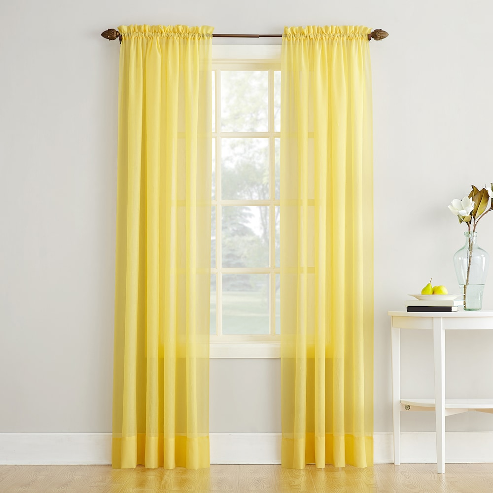 No 918 Erica Crushed Sheer Voile Window Curtain Yellow 51x95 In