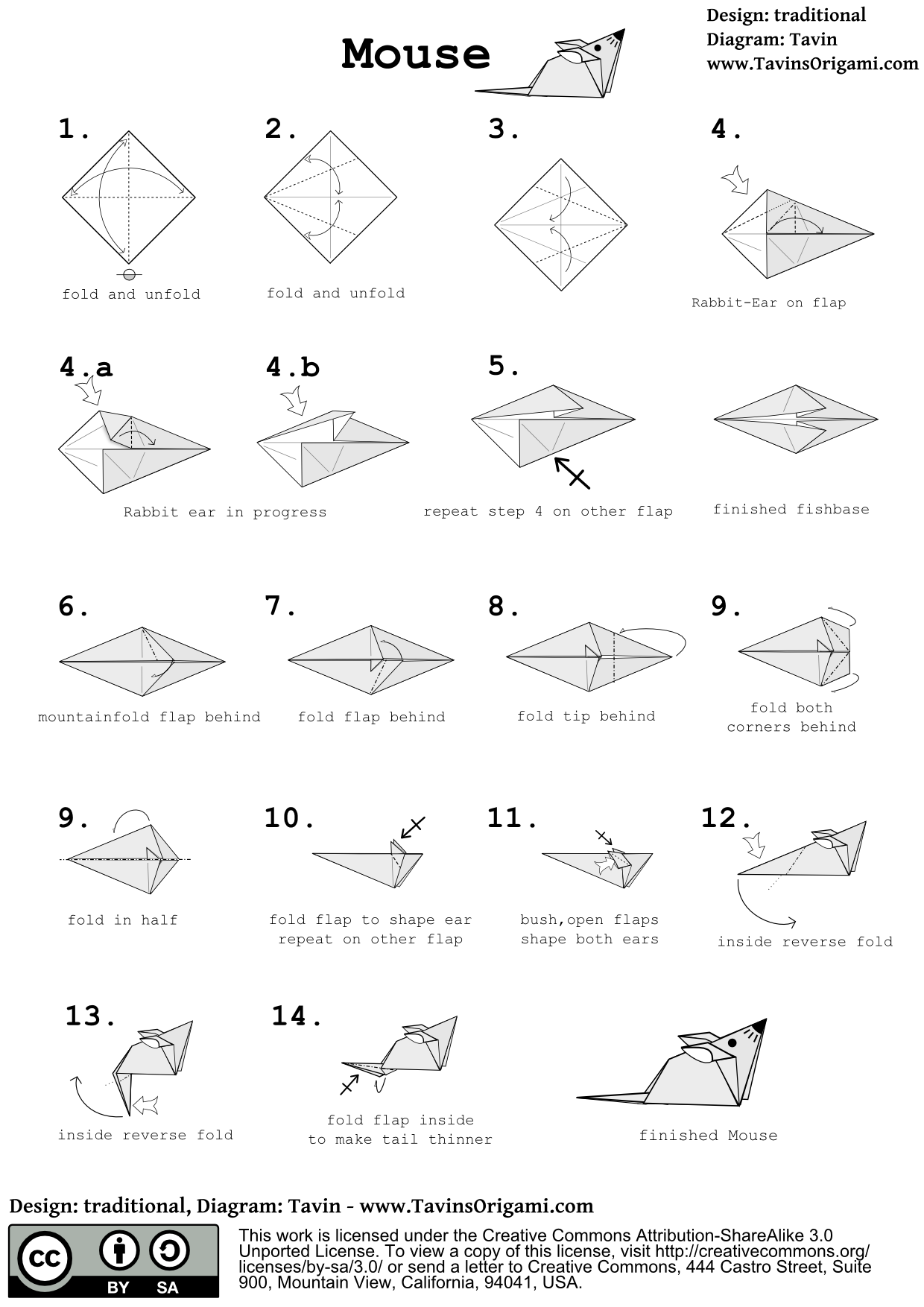 Origami mouse instructions origami mice and tutorials instructions for an origami mouse jeuxipadfo Images