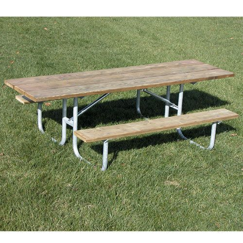 This single sided ADA picnic table accommodates 1 wheelchair on the end with an extended table past the legs of the table. Its ideal for including those with disabilities and who may need special chairs or wheelchairs to participate in group meals.