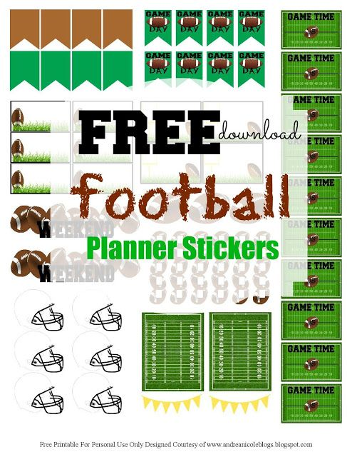 Andrea Nicole: Free Printable Football Planner Stickers | DIY ...