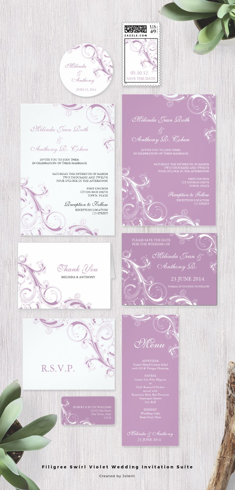 This African Violet swirls wedding invitation suite collection ...