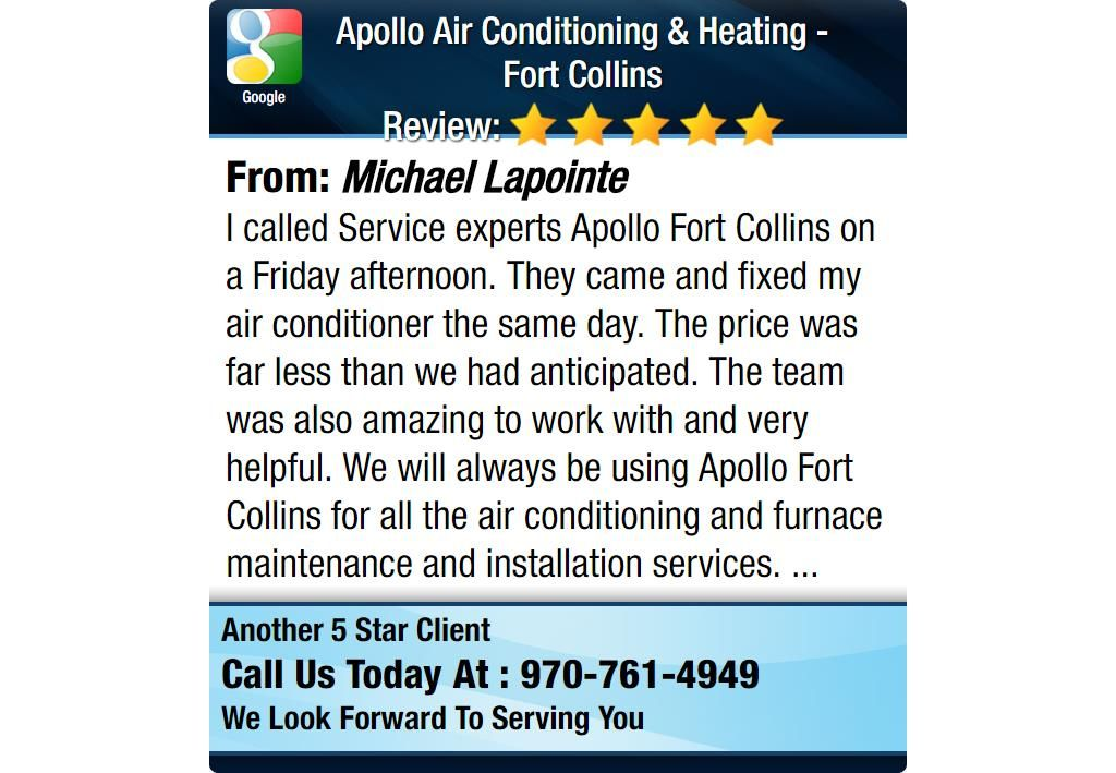I called Service experts Apollo Fort Collins on a Friday afternoon. They came and fixed...