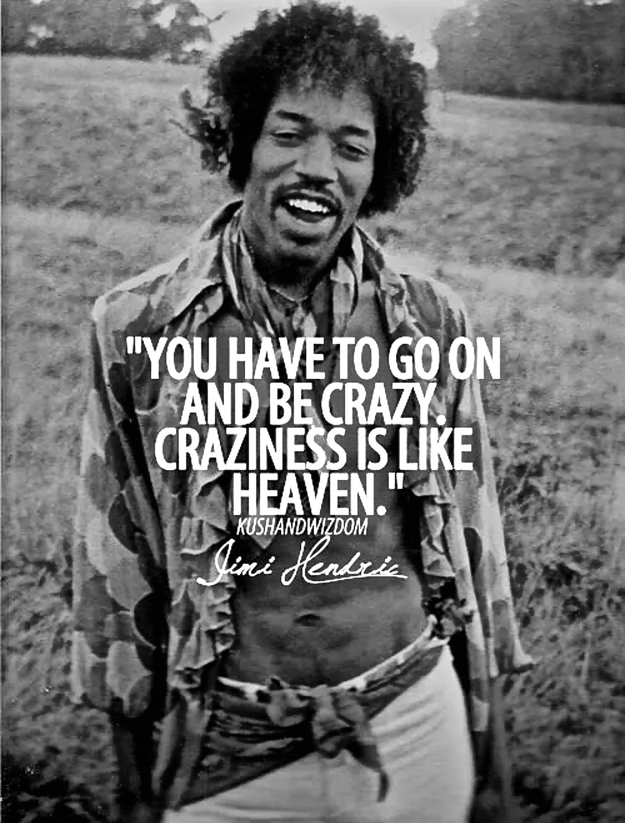 You Have To Go On And Be Crazy Craziness Is Like Heaven Jimi