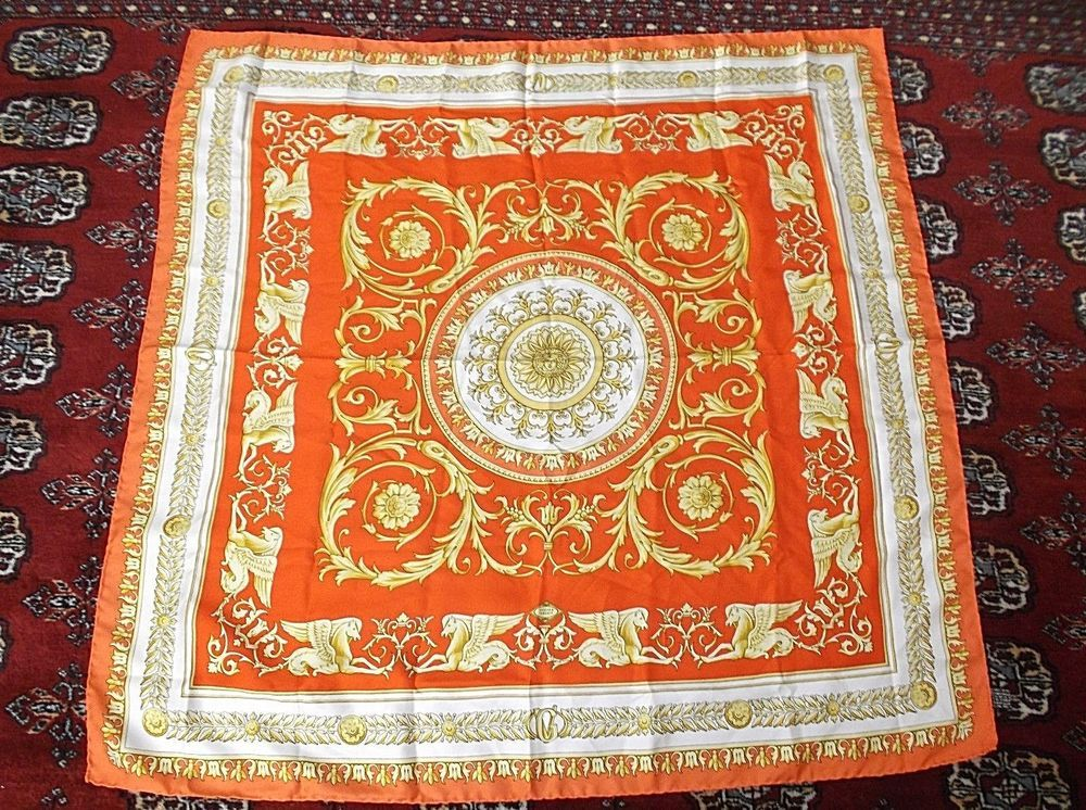 gold white closet auth womens atelier versace silk scarf italy medusa head red