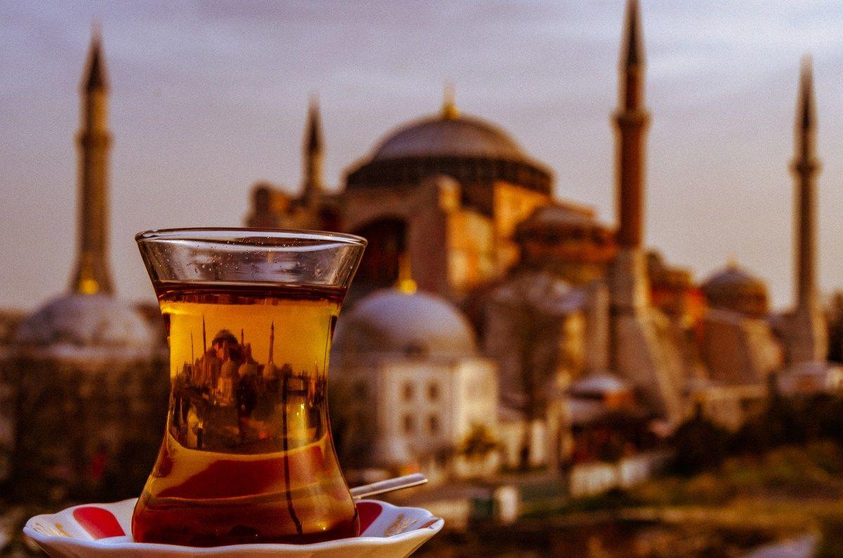 Turkish tea with a view of the Hagia Sofia #hagiasophia #istanbul #reflectionphoto