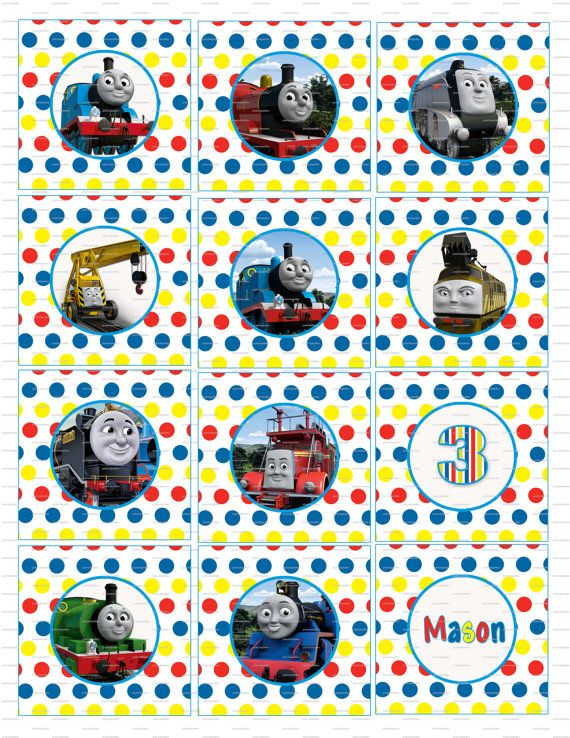 It's just a picture of Playful Free Printable Thomas the Train Cup Cake Toppers