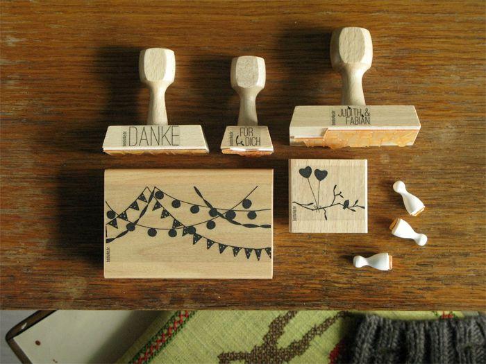 Dankeskarten selber machen mit stempel bastisrike hochzeit stempel set judith rubber stamp - Stempel selber machen set ...