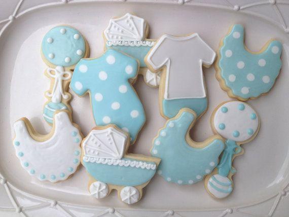 Boy Baby Shower Cookies Blue And White Polka Dot Onesie Sugar