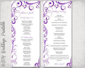 Ceremony Booklet With Purple Border Wedding Programs Diy