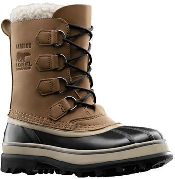 Sorel Caribou Waterproof Leather Boots, Step confidently into winter weather with these durable waterproof ankle boots. Featuring a rubber and waterproof leather upper, a rounded toe, a lace-up closure, pull tab at back shaft and logo debossing at outer side.