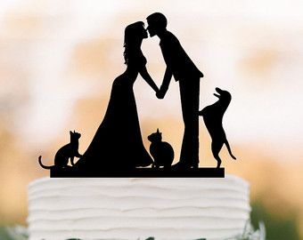 Wedding Cake Topper With Cat Dog Bride And Groom Silhouette Funny Family