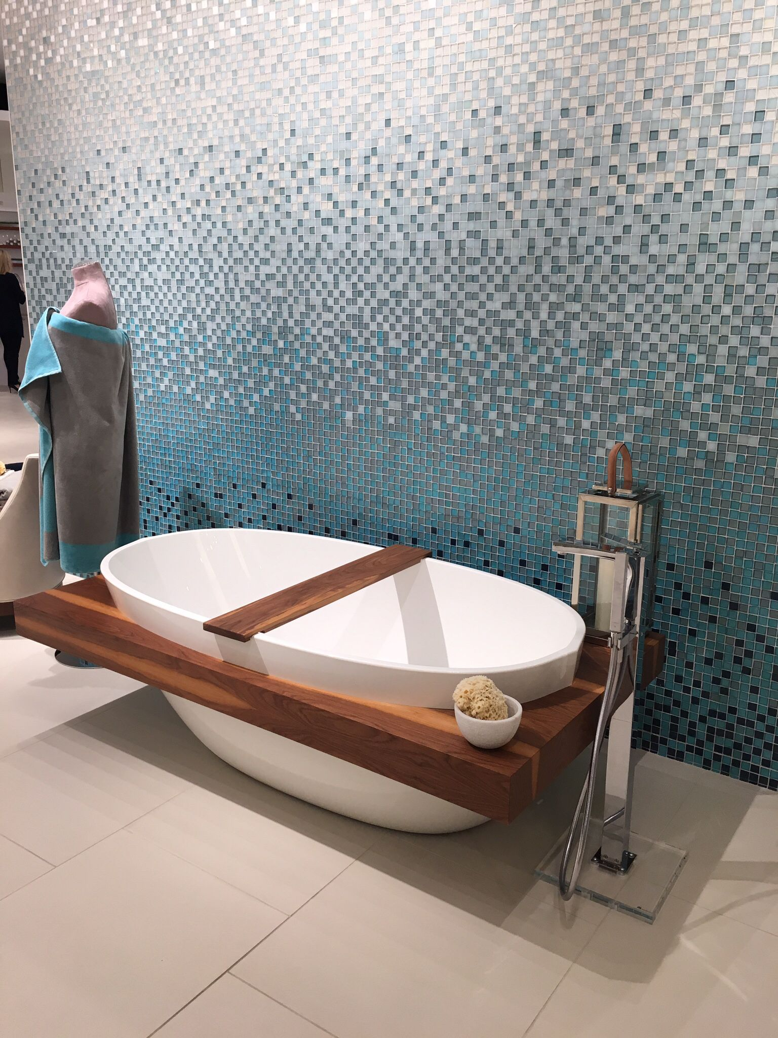 Glass Mosaic Blue And White Tile Ombre Effect Modern Shower
