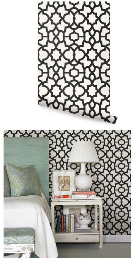 Trellis Black Peel And Stick Wallpaper   Wall Sticker Outlet