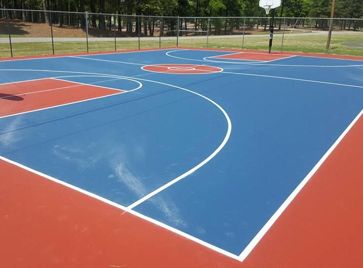 Basketball Court Resurfaced With Custom Colors At Rti International In Durham Nc Pickleball Court Court Basketball Court