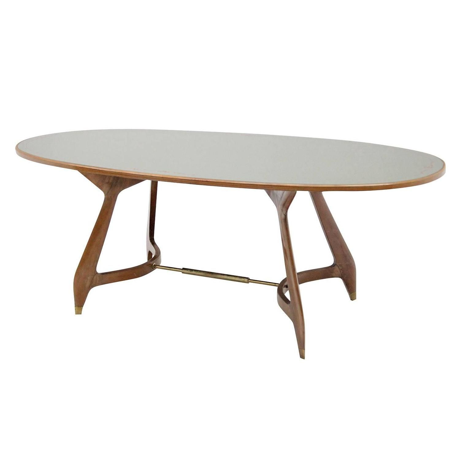 Mirror Glass Dining Table Attr To Vittorio Dassi Italy 1950s