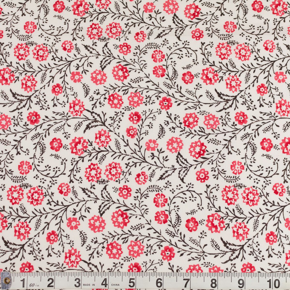 AMERICAN BEAUTIES cotton fabric for sewing or quilting MEANDERING VINE Dark PINK