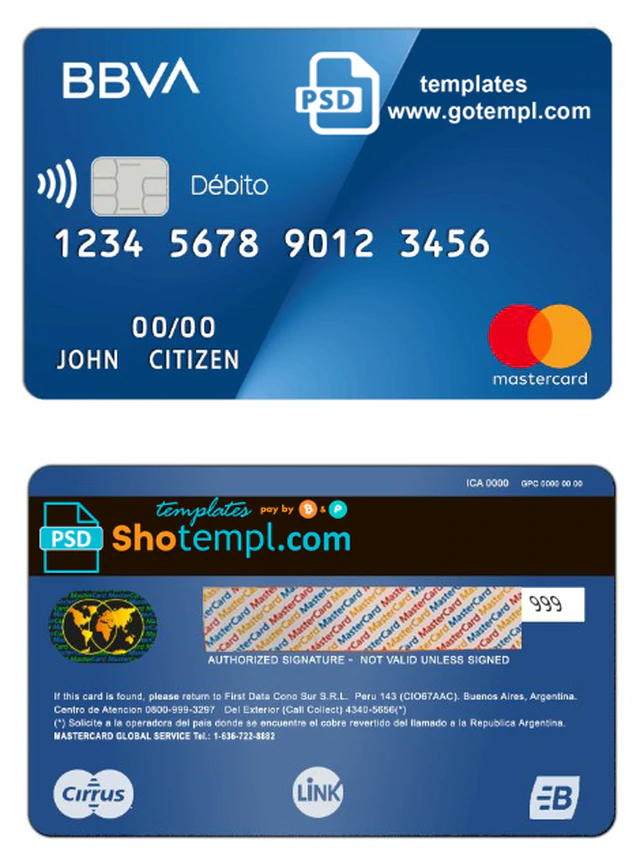 Argentina Bbva Bank Mastercard Debit Card Template In Psd Format Fully Editable Debit Card Design Debit Card Credit Card Design