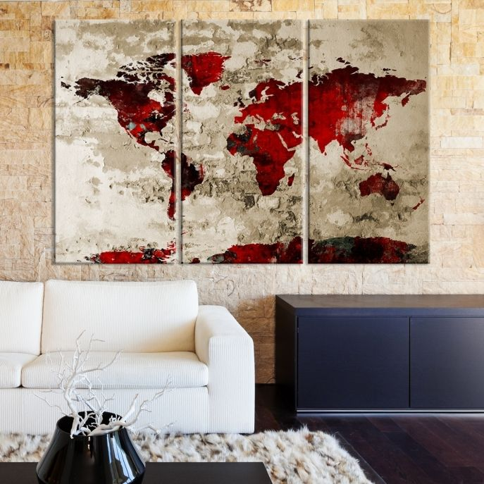Large wall art red world map on old brick wall canvas print large wall art red world map on old brick wall canvas print mygreatcanvas gumiabroncs Images