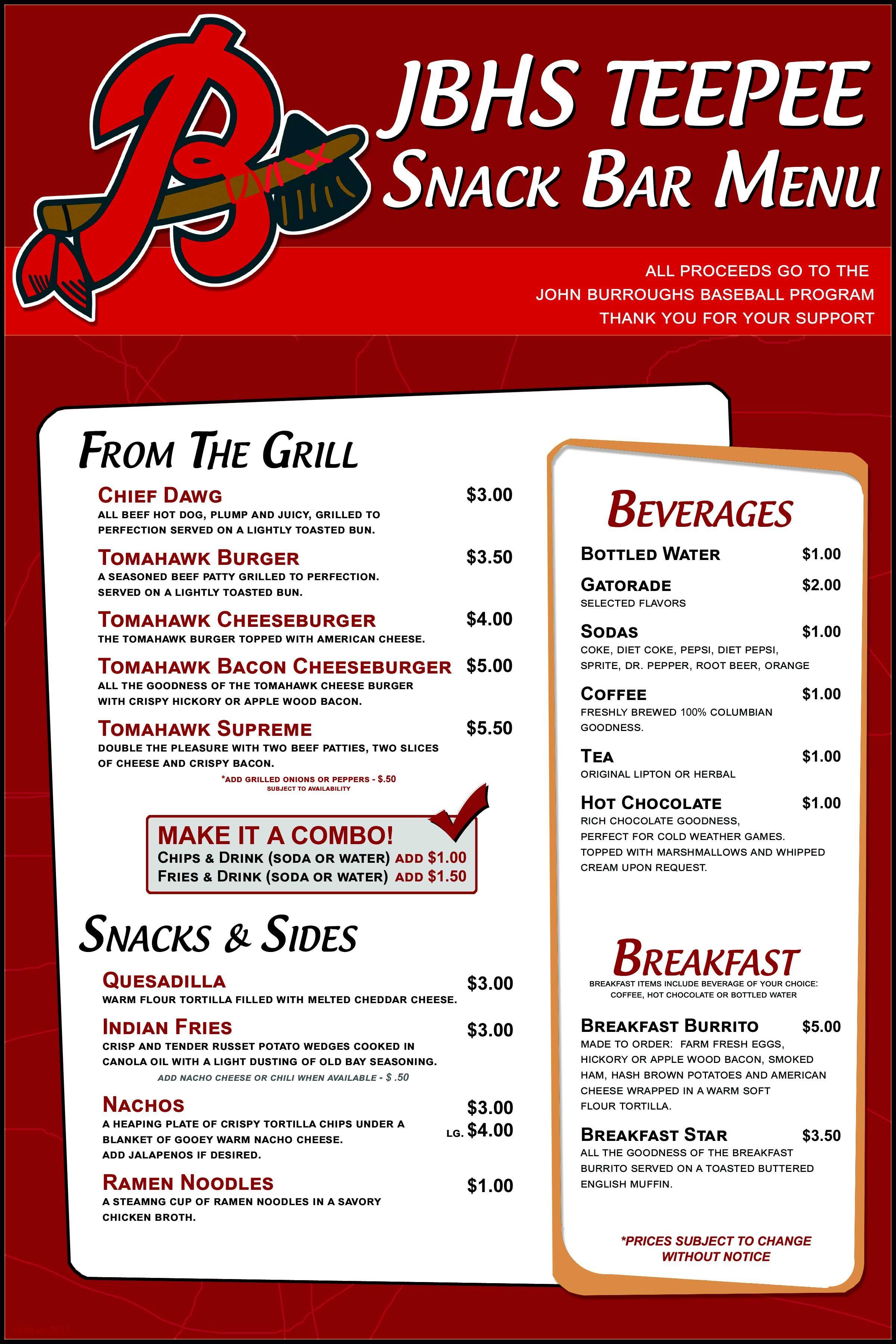 JBHS Teepee Snack Bar Menu | Menu Board | Pinterest | Menu and Snacks