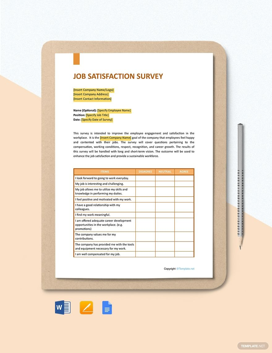 Free General Job Satisfaction Survey Template In 2020 Survey Template Job Satisfaction Templates