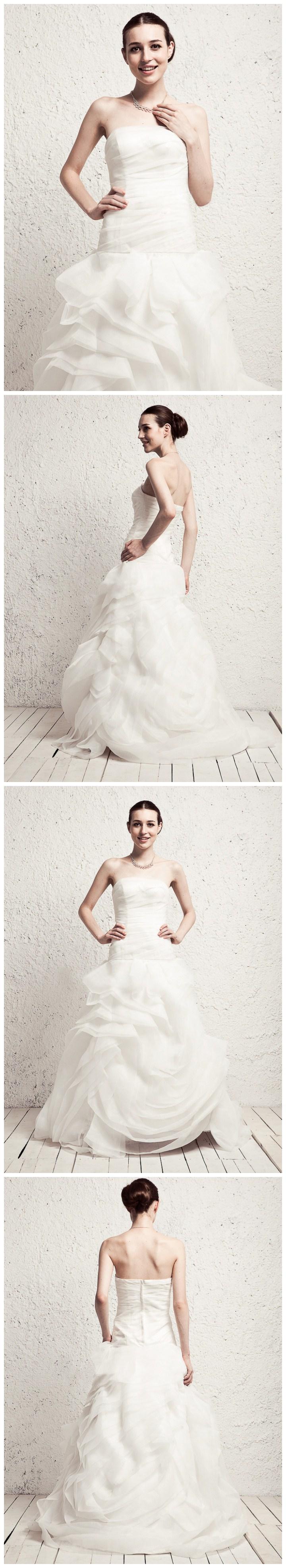 Elegant dropped waist with ruffled flower style skirt wedding dress