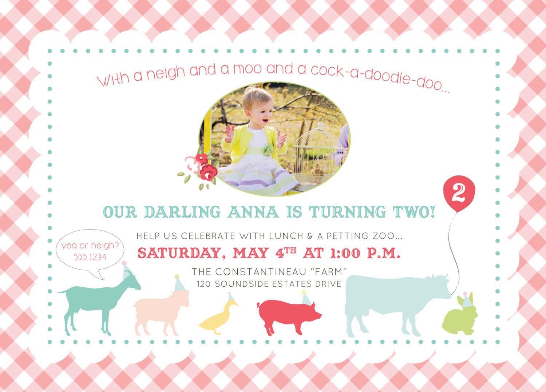 Petting Zoo Kids Birthday Invitation - Printable, Digital | Petting ...