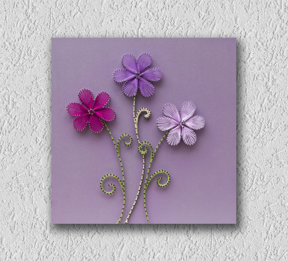 String art flowers | Three little flowers | Wall hanging | Strings ...