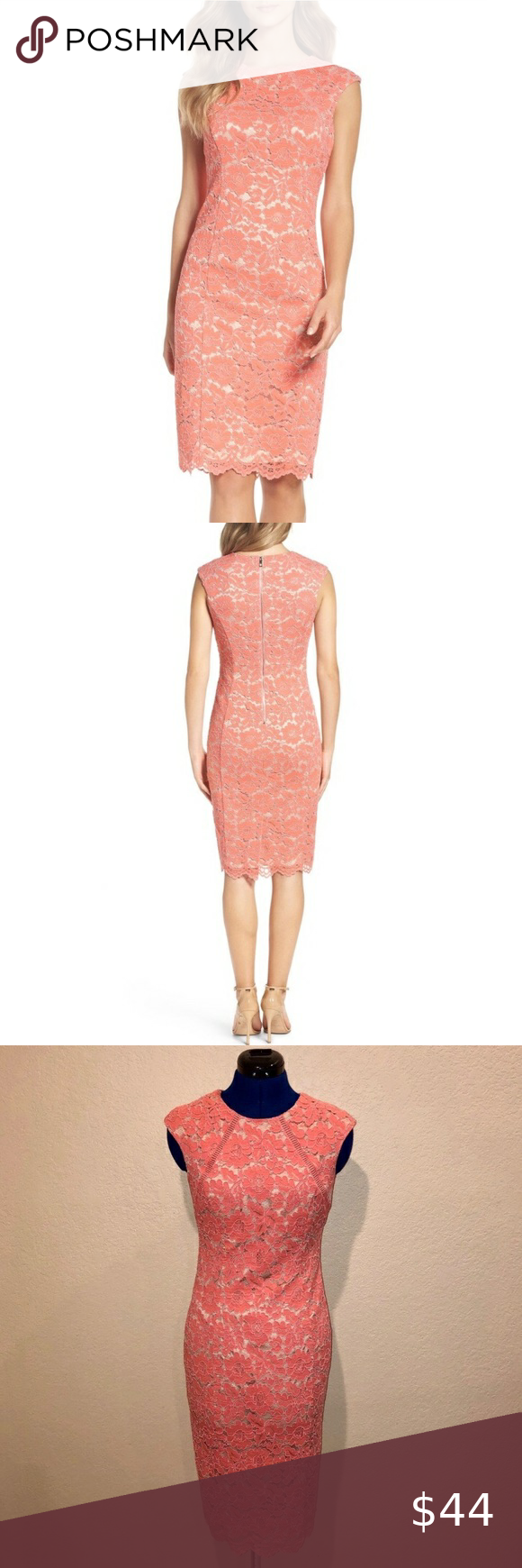 Vince Camuto Pink Lace Bodycon Dress