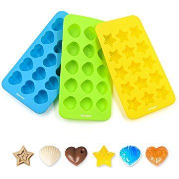 Silicone Chocolate Molds & Candy Molds - Ankway Set of 3 Nonstick Hearts, Stars & Shells Mini Wax Molds (15 Cups)